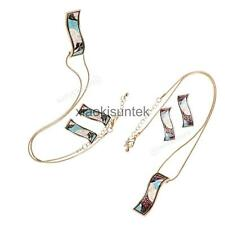 Chic Rectangular Geometric Studs Link Chain Pendant Necklace Enamel Jewelry Set