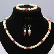 s223 A sets 7-8mm white Cultured fresh water pearl +8mm agate necklace bracelets