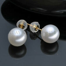 s881 Bride gift AAA 9-10mm White Perfect round AAA Akoya Pearl earrings 14KT