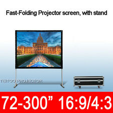 Fast Folding Portable Movie Projector Front Projection Screen Curtain White PVC