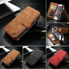 Retro Genuine Leather Wallet Case Zipper Card Holder Magnetic Cover For iPhone