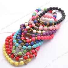 Wholesale Turquoise Round Beads Lion Head Stretchy Bracelets 8MM