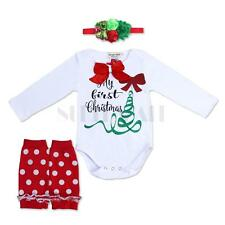 Toddler Baby Girl Kid Xmas Romper 3PCS Christmas Legging Warmers Set Outfit Suit