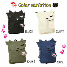 Neko Cat Cute Animal Women Canvas Shoulder School Backpack Travel Bag Rucksack