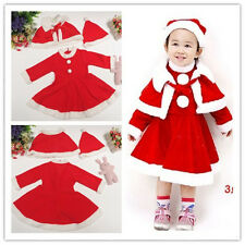 New Year Christmas Baby Girls Red Dresses +Cape+ Hat Three-piece Suits 2-4 Years
