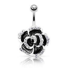 Black Flower Gem Petals Stainless Steel Barbell Belly Button Ring B487