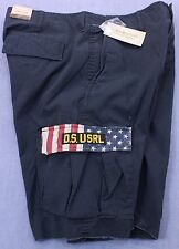 RALPH LAUREN DENIM SUPPLY Men NAVY BLUE USA FLAG CARGO SHORTS NWT 30 31 32 33 34