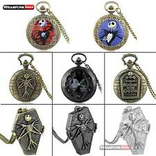 Antique Nightmare Before Christmas Theme Pocket Watch Retro Quartz Necklace Mens