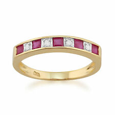 9ct Yellow Gold 0.44ct Natural Ruby & Diamond Half Eternity Ring Size
