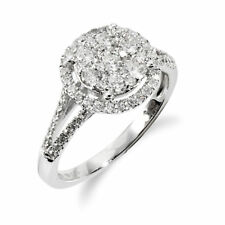 Gemondo 18ct White Gold 0.75ct Split Shank Diamond Halo Cluster Ring