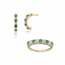 Gemondo 9ct Yellow Gold Emerald & Diamond Half Hoop Earring & Ring Set