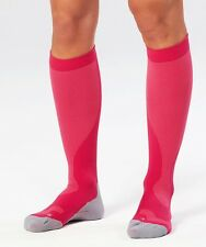 NEW WOMENS COMPRESSION PERFORMANCE RUN SOCK HOT PINK/GREY