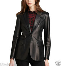 Awesome One Button Designer Soft Napa Leather Blazer For Dashing Women W- 08