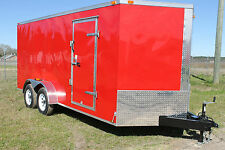 NEW 7x14 Enclosed Cargo Trailer V-Nose Utility Motorcycle 12 Landscape 16 Dual