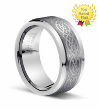 Men's 8mm Width Genuine Tungsten Carbide Celtic Knot Wedding Band Ring