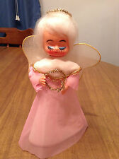Vintage Pink Angel Christmas Tree Topper - Cardboard & Celluloid - Made in Japan