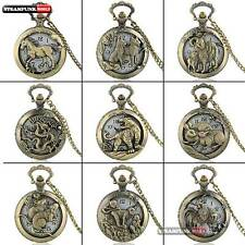 Antique Bronze Zodiac Pendant Pocket Watch Vintage Quartz Hollow Necklace Chain