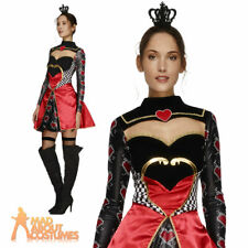 Ladies Queen of Hearts Costume Sexy Fever Fancy Dress Adult Fairytale Womens