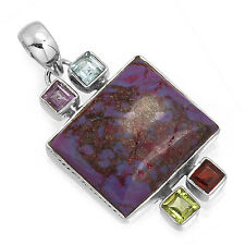 925 Sterling Silver Unique Pendant Copper Purple Turquoise Gemstone zc78489