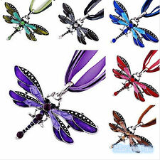 Retro Fashion Crystal Dragonfly Sweater Pendant Necklace Womern Jewelry Gifts