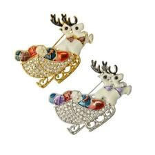 Lovely Christmas Reindeer Brooch Pin Costume Decor Festive Jewelry Gold/Silver