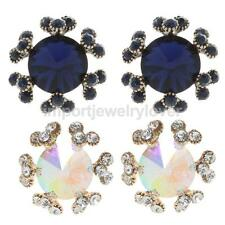 Elegant Vintage Diamante Women Crystal Rhinestone Ear Studs Snowflake Earrings