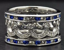 Sterling Silver Sim Diamond Stackable Art Deco Wide Eternity Sapphire Ring S 7.5