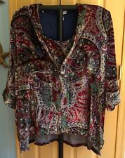 Ulla Popken Inspiration Relaxed Fit Twin Set Paisley Top & Cardigan Plus 28/30