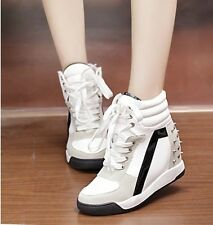 Awesome Faux Womens High Top Sneakers Suede Studded Lace Up Wedge Platform Shoes