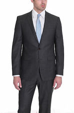 DKNY Slim Fit Gray Textured Two Button Wool Suit