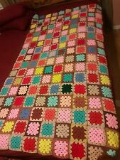 Hand-Crochet Granny-Square Afghan Throw Wool Blend Blanket Multi-Colors