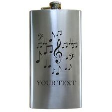 Personalized Engraved Music Notes 12 Oz Stainless Steel Pocket Hip Flask