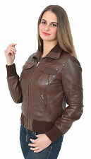 Womens Fitted Bomber Leather JACKET Cameron BROWN Casual Zip Up Blouson Coat NEW