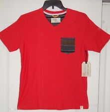 NWT MENS FREE PLANET SHORT SLEEVE V NECK COTTON T SHIRT TOP RED SIZE MED; XL