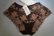 Envies by LEJABY SHORTS in CHOCOLATE COLOR WITH COGNAC EMBROIDERY SIZE P/4, M/6