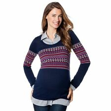 NWT Maternity OhBaby by Motherhood Mock-Layer Scoopneck Sweater Red/Navy/Gray XL