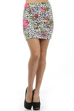 Skirt Mini Floral Leopard Animal Print S M L Pink Fold Over Waist Summer New