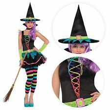 Teen Rainbow Neon Rave Witch Fancy Dress Halloween Costume + Tights Hat Gloves