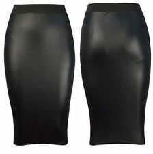 Womens Ladies Plain Pencil High Waist Wet Look Faux Leather Midi Wiggle Skirt