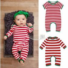 Christmas Striped Infant Baby Boys Girls Romper Bodysuit Pajamas Clothes Outfits