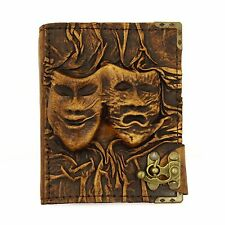 Happy Sad Face Handmade Leather Journal Notebook Diary Sketchbook Book