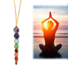 7 Chakra Natural Reiki Healing Gemstone Beads Point Pendant Necklace For Yoga