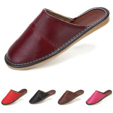 New Mens Womens Genuine Leather Slippers Shoes Mules, Hand Made Indoor Unique