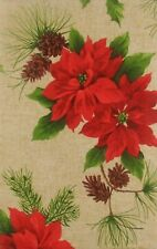 Poinsettias and Pine Cones Vinyl Flannel Back Tablecloth Various Sizes