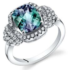 Simulated Alexandrite Cushion Cut Ring Sterling Silver 2.75 Carats Size 5 to 9