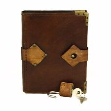 Plain Padlock Handmade Leather Journal Notebook Diary Sketchbook Book