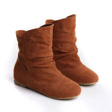 Womens Cute Faux Suede Slouch Flat Ankle Boots Pull On Boots Shoes Size US4-11 #