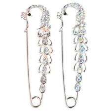 Fashion Crystal Rhinestone Peacock Safety Pin Brooch Clip Ladies Scarf Coat Gown
