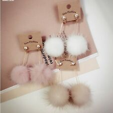 1Pair New Eardrop Fashion Simple Cute Fuzzy Mink Hair Ball Long Dangler Earring