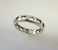 .925 Sterling Silver Multi Cut Out HEARTS RING Band Size 3-8 NEW 925 03105